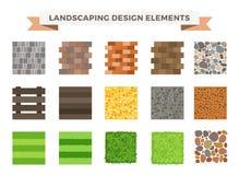 Landscaping garden design elements. Landscaping plants, landscaping trees vector icons . Landscaping plan vector elements icons. Landscape garden design Royalty Free Stock Images