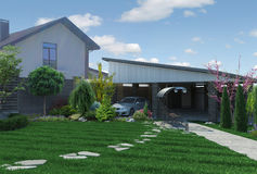 Landscaping garden panorama, 3D render. Natural character of the site into the design. Trees and shrubs of various shapes and sizes Royalty Free Stock Image