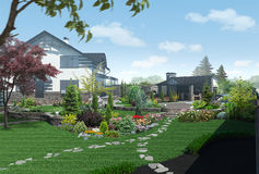 Landscaping garden panorama, 3D render. Natural character of the site into the design. Trees and shrubs of various shapes and sizes Royalty Free Stock Photos