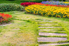 Landscaping in the garden. The path in the garden Royalty Free Stock Image