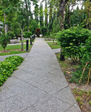 Landscaping in the garden. The path in the garden Royalty Free Stock Photography