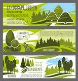 Landscaping and gardening service banners design. Landscape design, construction and maintenance business company banners template. Green tree nature landscape Royalty Free Stock Photos