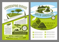 Landscaping and gardening service business poster. Landscape service company business poster for landscaping and gardening template. Landscape architecture Stock Images