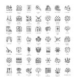 Landscaping and gardening. Vector line icon collection with tree. Landscaping and gardening. Vector line icon set with plants, trees, shrubbery. Elements for Royalty Free Stock Images