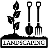 Landscaping icon with sprout and gardening tools. Black landscaping icon with sprout and gardening tools silhouette Stock Image