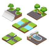 Landscaping Isometric Compositions Royalty Free Stock Images