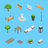 Landscaping Isometric Elements Stock Images