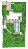Landscaping land development plan Master Plan, 2D Sketch. Natural character of the site into the design. Site development plan Stock Photo