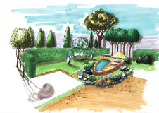 Landscaping. Landscape architecture plan design in the courtyard for Villa Royalty Free Stock Images