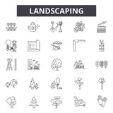 Landscaping line icons, signs, vector set, outline illustration concept. Landscaping line icons, signs, vector set, outline concept illustration stock illustration