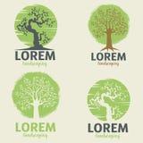 Landscaping logo templates. Eco lifestyle sign template. Design element for logo, label, badge. Vector illustration Stock Photo