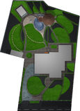 Landscaping master plan, 3d render Stock Photos