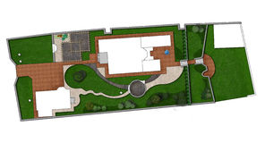 Landscaping Master Plan, 2D Sketch. Fully illustrated site development plan. Complete garden landscaping Stock Photos