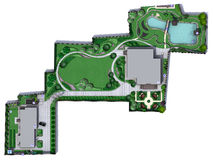 Landscaping Master Plan, 2D Sketch. Fully illustrated site development plan. Natural character of the site into the design Royalty Free Stock Photography