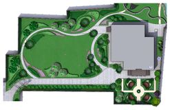 Landscaping Master Plan, 2D Sketch. Fully illustrated site development plan. Natural character of the site into the design Stock Photography