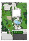 Landscaping master plan, 2d sketch Stock Photos