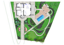 Landscaping master plan, 2D sketch. Natural character of the site into the design. Site development plan Royalty Free Stock Photo