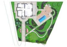 Landscaping master plan, 2D sketch Royalty Free Stock Photo