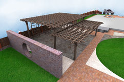 Landscaping multi level pergola, 3D render. Natural character of the site into the design. Ornamental pattern in patio paving Royalty Free Stock Photos