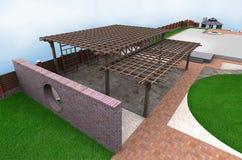 Landscaping multi level pergola, 3D render Royalty Free Stock Photos