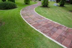 Pave Clay tiled walkway. royalty free stock photos