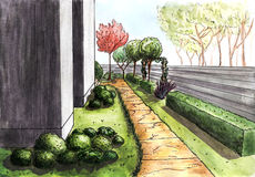 Landscaping. The path to the house. Landscape architecture plan design in the courtyard for Villa Stock Photos