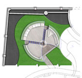 Landscaping patio master plan 2D sketch Royalty Free Stock Image