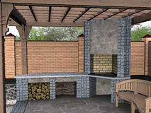 Landscaping pergola inside view, 3D render. Natural character of the site into the design. Green design features Royalty Free Stock Image