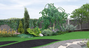 Landscaping planting of greenery, 3d rendering Royalty Free Stock Photos