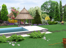 Landscaping planting of greenery and eastern europe style gazebo, 3D render Royalty Free Stock Photo
