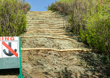 Landscaping project  over gas pipeline  with hydroseeding. Hydroseeding and straw basin guard over gas pipeline after grass fire Stock Photo