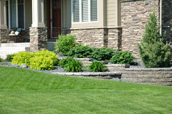 Landscaping and Retaining Wall. At a Residential Home Stock Photo