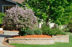 Landscaping and Retaining Wall. At a Residential Home Stock Photos