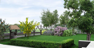 Landscaping rustic style garden, 3D render. Natural character of the site into the design. Green design features. Example of rustic style landscaping Stock Images