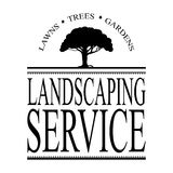 Landscaping service sign vector with black tree silhouette Royalty Free Stock Photos