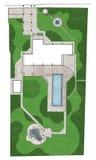 Landscaping site development master plan, 2D sketch Stock Photo