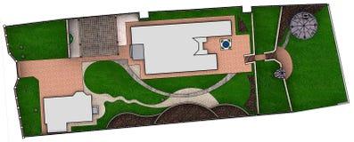 Landscaping site development plan, 3D Render. Fully illustrated site development plan. Complete garden landscaping Stock Photos