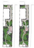 Landscaping site development plan, 2D sketch. Fully illustrated site development plan. Complete garden landscaping Stock Image