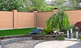 Landscaping small fountain plant groupings, 3D render. Natural character of the site into the design. Green design features Royalty Free Stock Image