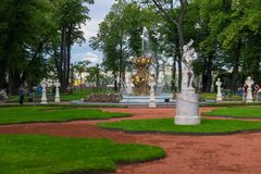 Landscaping of the summer park. SAINT PETERSBURG, RUSSIA - AUGUST 18, 2017: Grand Parterre in the Summer garden. This park is one of the oldest in Saint Stock Images