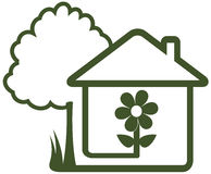 Landscaping symbol - tree, house, flower and home. Isolated sign with landscaping symbol - tree, house, flower and home garden Stock Photography