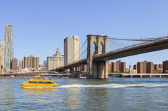 Landscaping view of Brooklyn Bridge and Manhattan, NYC Stock Image