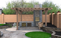 Landscaping view of the pergola recreation space, 3D Render Stock Photography