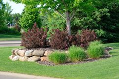 Landscaping with Weigela Shrubs and Rock Retaining Wall stock photography