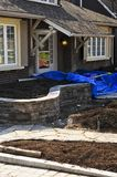 Landscaping work in progress. Landscaping and paving work in progress at a front yard of a house Stock Photo
