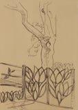 Landscepe с загородкой металла и большая линия эскиз дуба искусства рисуют Стоковые Фото