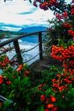 Landschaft über Alpenbergen Lizenzfreie Stockbilder