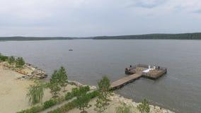 Landschaft über dem See stock footage