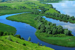 Landschaft auf dem Fluss Volga Stockfotos