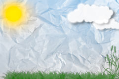 Landschaft auf einem zerknitterten Blatt Papier Lizenzfreies Stockbild